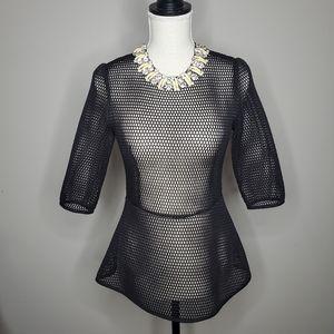 Gracia Mesh Jeweled Collar Peplum Top